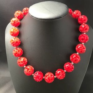 Vintage red plastic bead necklace